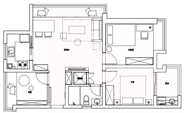 92平的北欧风三居室,大飘窗把客餐厅都连在一起